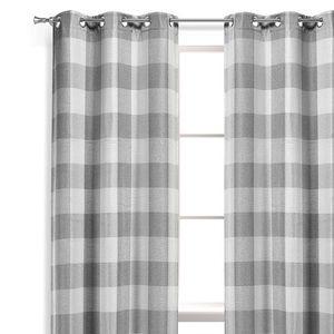 Eclipse blackout gray curtains 52x84 L new plaid